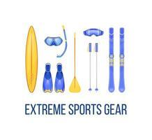 équipement de sports d'été et d'hiver vecteur