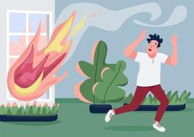fuir le feu de la maison