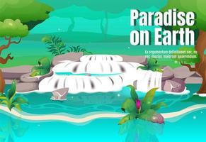 affiche de paradis sur terre vecteur