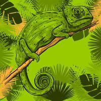 Caméléon sur une branche de cadre de feuilles tropicales