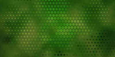 fond vert foncé avec des cercles.