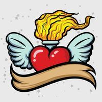 Coeur enflammé vecteur