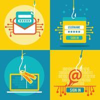 Ensemble de phishing par Internet plat Illustration vecteur