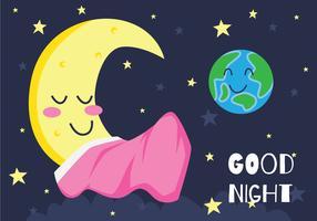 Illustration de lune de nuit vecteur