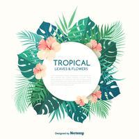 Feuilles de palmiers tropicaux et fleurs hibiscus vecteur bannière