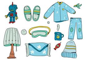 Bedtime Boy Starter Pack dessinés à la main Vector Illustration