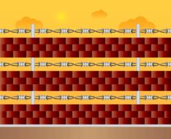 Mur de briques avec fil de rasoir vecteur