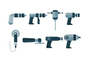 Icônes vectorielles outils pneumatiques gratuits vecteur