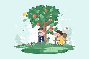 Illustration de l'arbre de pêche vecteur