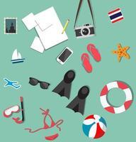 ensemble d'accessoires de vacances à la plage d'été vecteur
