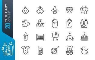 jeu d'icônes de bébé mignon vecteur