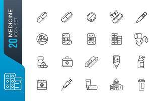 jeu d'icônes de médecine minimale