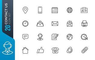 contactez-nous jeu d'icônes vecteur