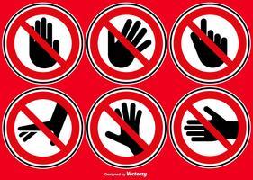 Ensemble de vecteur de ne pas toucher les signes