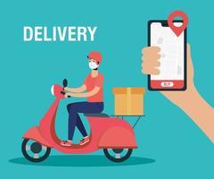 concept de livraison en ligne avec courrier sur scooter