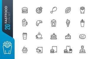 jeu d'icônes de restauration rapide minimal