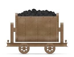 chariot de chariot minier avec du charbon vecteur