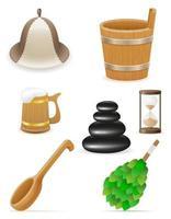 accessoires pour hammam ou set sauna vecteur