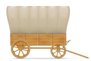 wagon en bois du far west vecteur