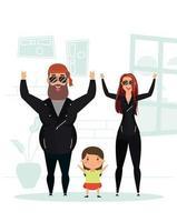 campagne de rester à la maison avec une famille heureuse à la maison vecteur