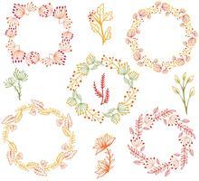Vecteurs de fleurs gratuites de couronnes d'automne vecteur