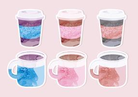 Vecteur peint des tasses de café autocollants