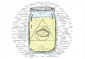 Oeil de vecteur dessiné à la main libre dans le pot