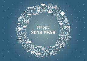 Salutations de nouvel an de conception plate vecteur gratuit