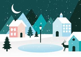 Paysage d'hiver gratuit Design plat Vector