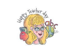 Caractère de femme aquarelle enseignant avec World, Abc et monde à la journée des enseignants vecteur