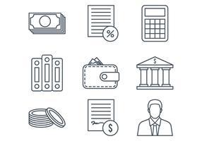 Icônes de ligne de comptabilité vecteur