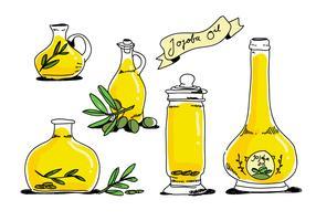 Bouteille d'huile de jojoba dessinés à la main vector illustration