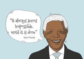 Nelson Mandela personnage avec bulle de dialogue et citation vecteur