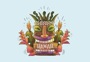 Totem de masque hawaïen aquarelle souriant avec des feuilles et des fleurs tropicales à Hawaii