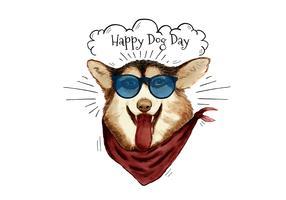 Chien mignon et drôle de mode souriant portant des lunettes de soleil et écharpe au jour de chien vecteur