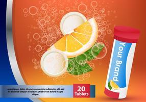 Comprimé effervescent de supplément Orange dans l'eau vecteur