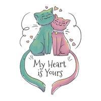 Couple mignon chat tombant amoureux de coeur flottant