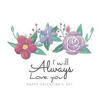 Fleurs et feuilles de fond mignon avec la citation de la Saint-Valentin