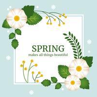 Conception de carte de voeux de vecteur de printemps