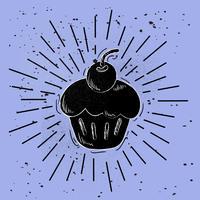 Illustration de gâteau vecteur dessiné à la main