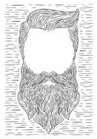 Illustration de barbe de vecteur dessinés à la main