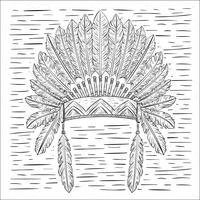 Illustration de chapeau indien vecteur dessiné à la main