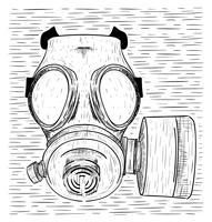 Illustration de masque à gaz vecteur dessiné à la main