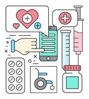 Icônes médicales linéaires