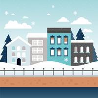 illustration vectorielle de paysage urbain hiver