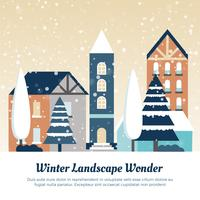 Illustration vectorielle de paysage d'hiver