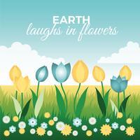 Belle illustration de paysage de printemps vecteur