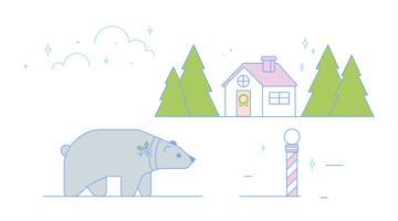 Vecteur de Noël ours polaire