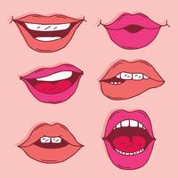 Vecteur de collection de lèvres dessinées à la main