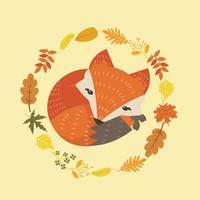 mignon renard entouré d'un anneau de feuilles